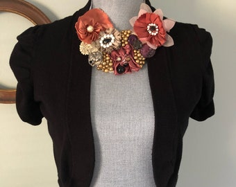 Upcycled Bib Statement Necklace Treasure Chest