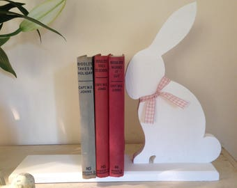 Hand Painted Wooden Bunny Bookends.