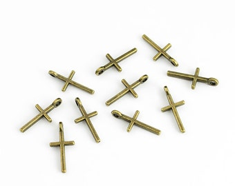 Antique Brass Cross Charms - 10 Pieces
