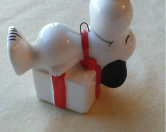 Vintage 1960's Snoopy on Christmas Present Porcelain Hand Painted Ornament