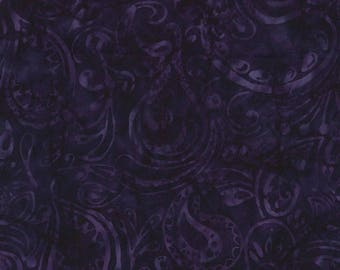 Half Yard Tonga Batik Fabric-Velvet Paisley-Black Purple-Timeless Treasures
