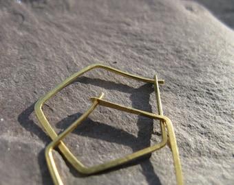 Small Polygon brass hoop earrings, small geometric earrings, dainty pentagon hoops, contemporary jewellery, sacred geometry