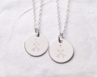Friendship Necklace Set of 2, Personalized, BFF Necklace for 2, Crossed Arrow Necklace, Gift for Best Friend, Teenager Jewelry, Hand Stamped