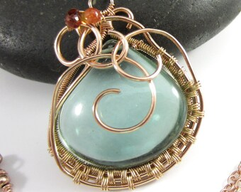 Algae Pond Necklace - Green Amethyst and Sapphires in 14k Yellow and Rose Gold Filled Pendant