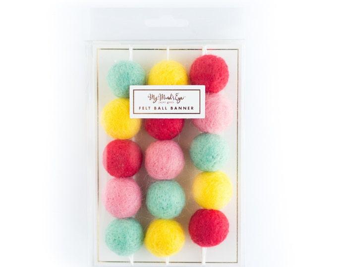 Unicorn Banner Felt balls, Felt ball banner, Felt Ball Garland, Mini Felt balls in Pink, Red Dark Mint/Teal and Yellow Felt Balls,