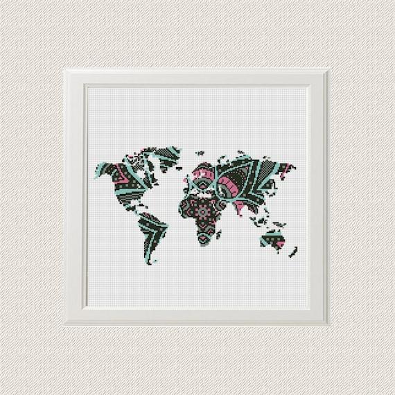 World map cross stitch pattern pdf mandala world map silhouette world map cross stitch pattern pdf mandala world map silhouette flowers counted cross stitch chart modern decor download pdf from animalscrossstitch on gumiabroncs Gallery