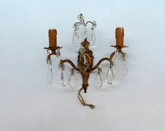 Antique French, Louis XV style, 2 lamp, bronze and venetian crystal sconce, wall lighting