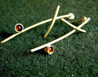 Sterling Silver Earrings, Silver 925 Carnelian Drop Earrings,Minimal Tree Branch Earrings,Gemtone  Minimalist Earrings,Artisan Jewelry