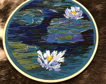 Turquoise Water Lilies Embroidery Art