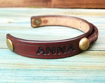 Horse hair and Leather Bracelet with Custom Stamped Name - Monogrammed - Horsehair Jewelry