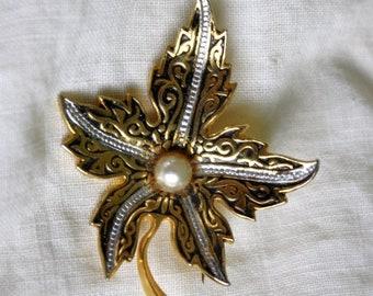 Sale Maple Leaf Brooch Gold and Silver Tone Black Enamel Faux Pearl 1930s Canada Maple Leaf