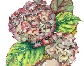 Botanical Flower Watercolor Autumn Hydrangea Limited Edition Giclee Print