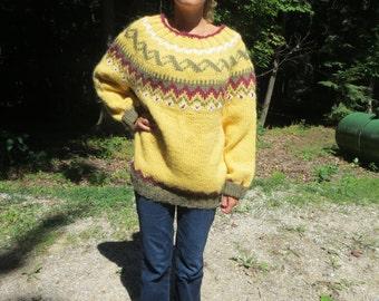Bulky handknit Lopi women's sweater in yellow