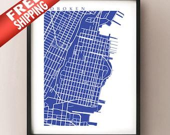Hoboken Map Art -  New Jersey Poster Print