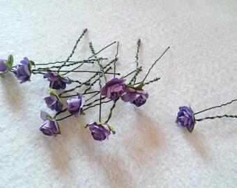 10  Beautiful Purple Rose Hair Pin.