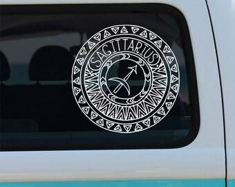 Sagittarius Decal - Zodiac Sticker - Astrological Sign - Zodiac - Sagittarius - Car Decal - Decal - Vinyl Decal - Mandala - Vinyl
