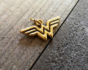 Wonder Woman Charm DC Comics Charm Antiqued Gold Charm Super Hero Charm Licensed