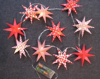 String light red star origami