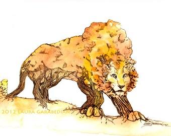 Fall TreeLion 8.5x11 Giclee Print