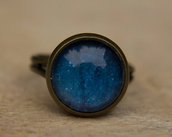 Blue Galaxy Ring, Solar System Ring, Planet Ring,Universe Ring, Adjustable Ring, Statement Ring, Glass Dome Ring, Space Jewelry