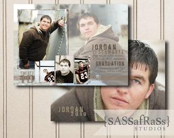 The Jordan--5x7 ADOBE PHOTOSHOP Graduation Announcement Template for Photographers, DIY, Graduation Party Invite, Open House