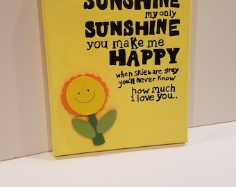 You are my sunshine canvas, Baby shower gift,baby nursery sign, nursery canvas, gender neutral decor, baby shower decor