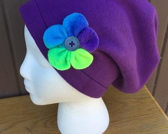 Handmade Fleece Super Slouchy Hat Dark Purple W Tie Dye  Rainbow Flower Accent Attached W Button Adult Size M/L