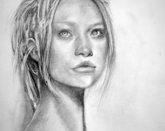 Pencil portrait of Gemma Ward, original