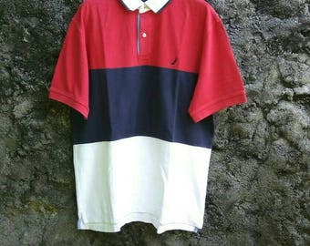 Free Ship !! 90s Nautica Multicolor Polo Shirt colorblock. Mens Large