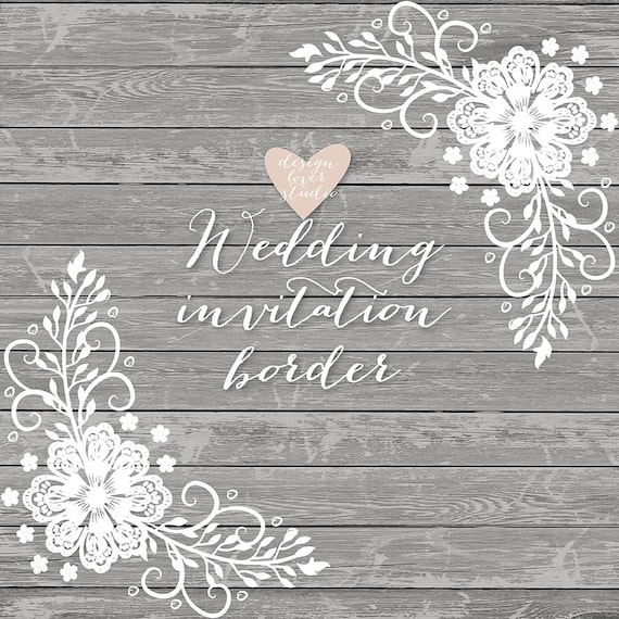 Wedding Invite Borders: Premium VECTOR Lace Border Rustic Wedding Invitation Border