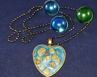 Heart Pendent with Pebbles