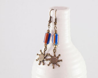 Bohemian copper earrings with vintage glass beads