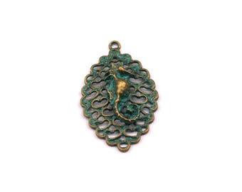 Faux Patina Pendant - Seahorse Shaped - Alloy Charms - Antique Bronze Tone Necklace - Zinc Alloy Beads - Jewelry Supplies - 43x25x7mm ZZ1095