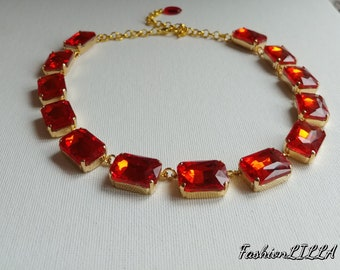 Red Collet Necklace, Anna Wintour Necklace,Riviere Necklace, Georgian Paste choker, regency Jewelry,18th Century  Necklace,siam rhinestone