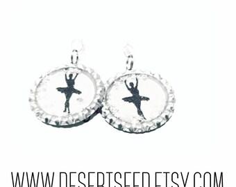ballet dancer bottle cap earrings with stars glitter.