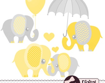 Elephant Baby Shower Clipart, Baby and Mommy, Elephant with Balloon / Umbrella Clip Art
