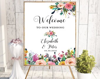 Floral Welcome To Our Wedding Sign, Printable Welcome Sign, Welcome Sign, Custom Welcome Sign, Floral, Boho Chic Wedding, Digital