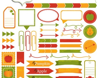 Autumn CLIPART Symbols. Printable 49 digital Arrows, Labels, Tags, markers, stickers, by MissAngelClipArt. Green, orange, red