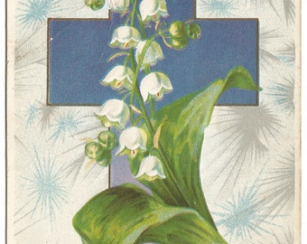 """Ultra Violet Cross with Burst of Gray and Blue Background White Lily of the Valley """"The Lord is Risen"""" Vintage Postcard"""
