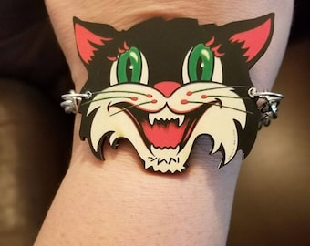 Retro cat, Cat cuff, cat, retro cat jewelry,Catcon, Cat lady, Meow, Kitty, Cat