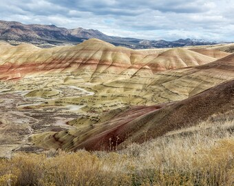 """Nature Photography-  """"The HIlls are Alive with Color"""" - landscape photography, geological, layers, Oregon wonder - unframed Print"""