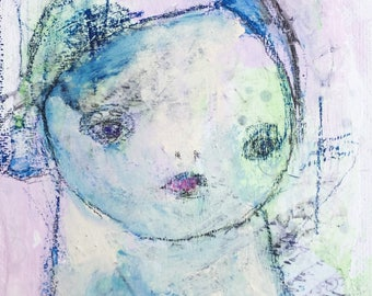 Mixed Media Portrait - Small Wall Art - Outsider Art - Mixed Media Girl - Home Decor Art - Outsider Portrait - Art Brut Portrait
