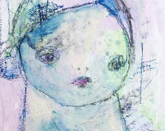 Mixed Media Portrait - Small Wall Art - Outsider Art - Mixed Media Girl - Home Decor Art - Outsider Portrait - Art Brut Portrait