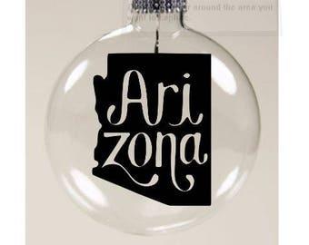 Arizona State Outline AZ Christmas Ornament Glass Disc Holiday Black Friday Jenuine Crafts