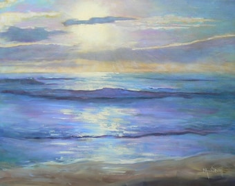 "Impressionist Seascape Oil Painting with Sunrise,  20x24"" Seascape, Painting on Sale, Free Shipping in US"