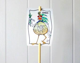 Vegetable Marker Onion Aluminum Sign Garden Decor UV Protected Outdoor Fun Urban Farming