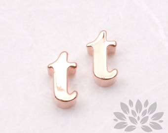 """IP003-GRG-T// Glossy Rose Gold Plated Simple Lower Case Initial """"t"""" Pendant, 2 pcs"""