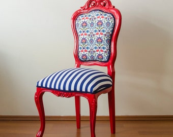 Red Lead and Oriental Pattern Fabric Vintage Cosy French Chair