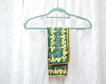 Clover green and yellow vintage square scarf