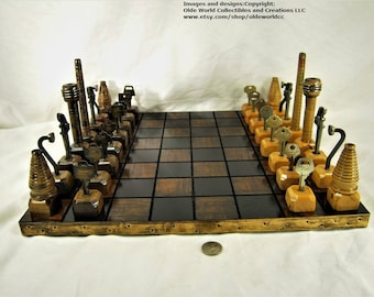 Mixed antiques chess set and Optional 17 inch repurposed table top board #1120160017- Free Shipping to U.S.